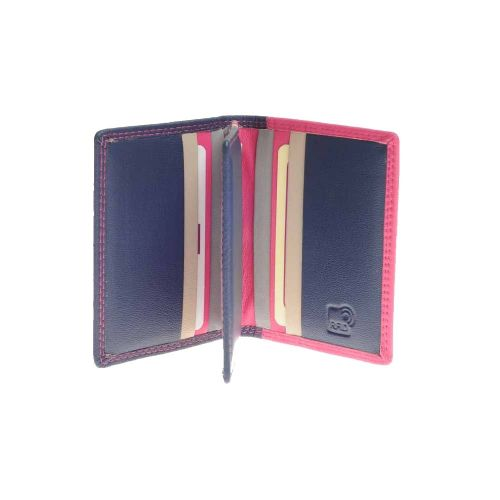 Mala Leather Grafton Collection Multi Card Holder Purse in Navy Blue with RFID Protection